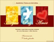 Tarjetas de navidad para imprimir. Alegría, Paz y Amor