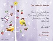 Tarjetas de navidad para imprimir. Pajaritos navideños