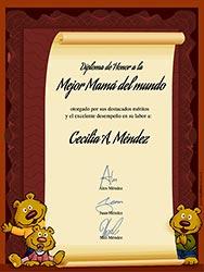 Tarjeta de Día de las Madres personalizable. Diploma a la mejor Mamá del mundo, Miniposter