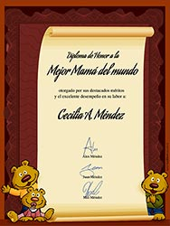 Diploma para Mama para imprimir. Diploma a la mejor Mamá del mundo