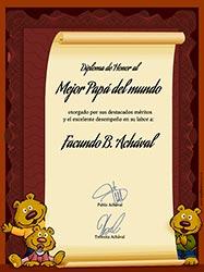 Tarjeta de Día del Padre personalizable. Diploma al mejor papá, Miniposter