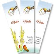 Tarjeta de Comunión para personalizar. Aves del Cielo,  6 souvenirs en forma de señalador