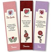 Tarjeta de Día de las Madres personalizable. Corazones y flores, Señaladores