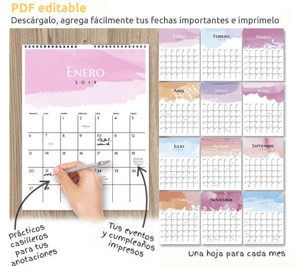 Calendario 2019 Julio Chile.Calendario 2019 Para Descargar Editar E Imprimir